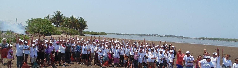 Community volunteer beach clean-up in Riviera Nayarit Mexico