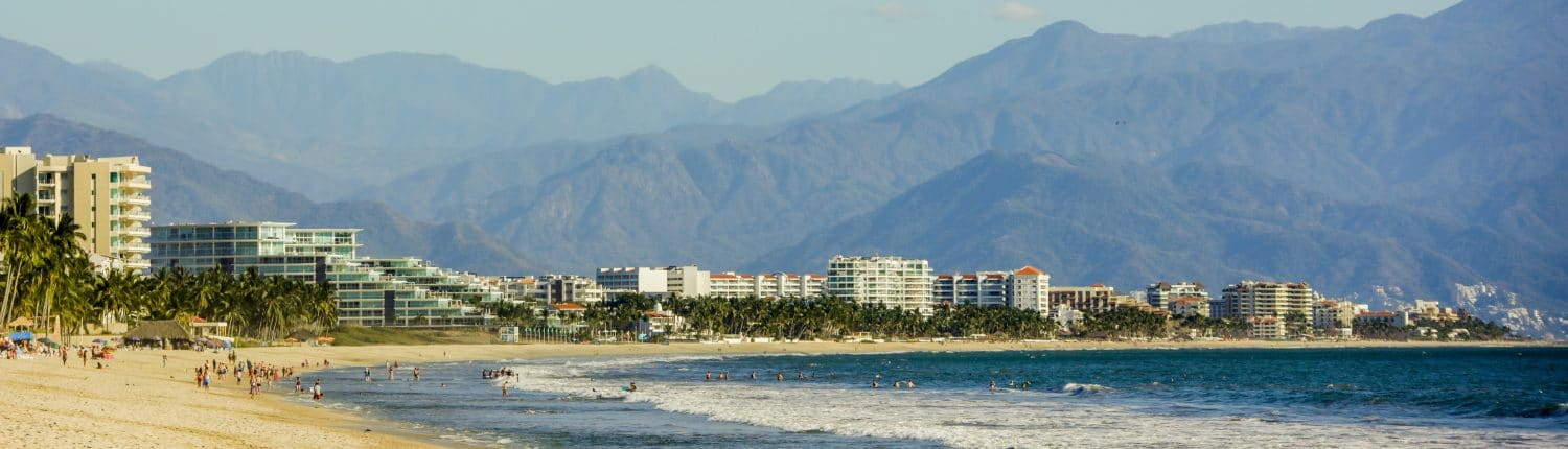 View of Flamingos from the beach in Riviera Nayarit Mexico