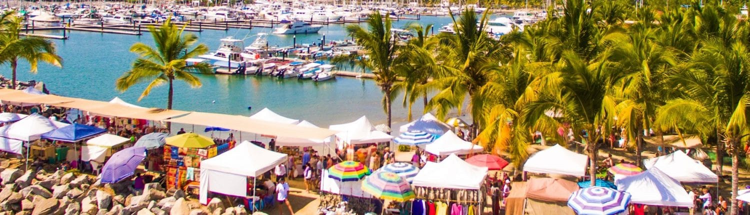 Outdoor beach market near Marina in Riviera Nayarit Mexico