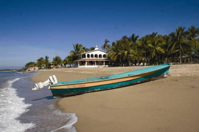 Panga - Small motorboat on sandy Nayarit beach