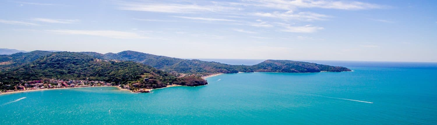 Airplane view of the bay and the town of Guayabitos Riviera Nayarit