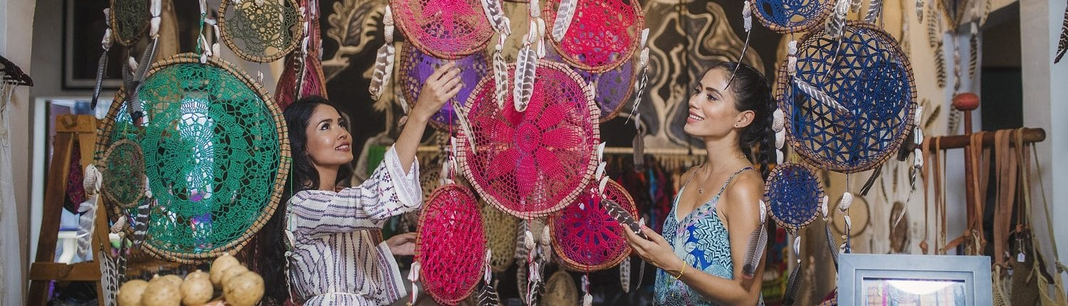 Shopping in Riviera Nayarit Mexico - image of 2 young women shopping