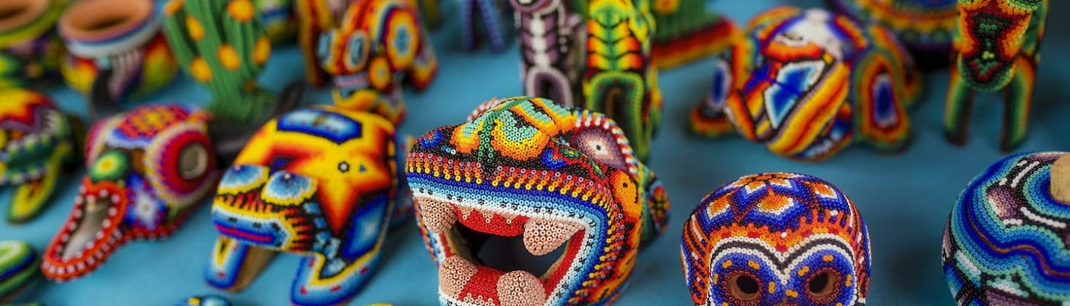 Huichol art in Riviera Nayarit Mexico - image of handmade bead crafts