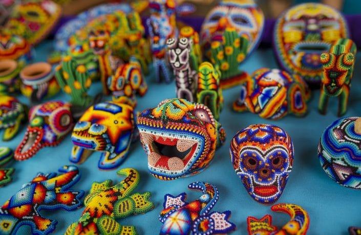 Huichol art in Riviera Nayarit Mexico - image of handmade bead crafts