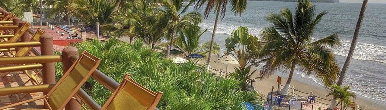 View of the beach from Casa Mañana hotel in San Blas Riviera Nayarit Mexico