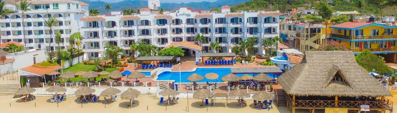 Aerial view of beach and Casablanca Resort hotel in Guayabitos Riviera Nayarit Mexico