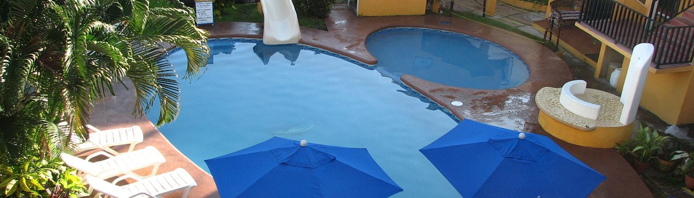 Pool at Bungalows El Delfin hotel in Rincon de Guayabitos Riviera Nayarit Mexico