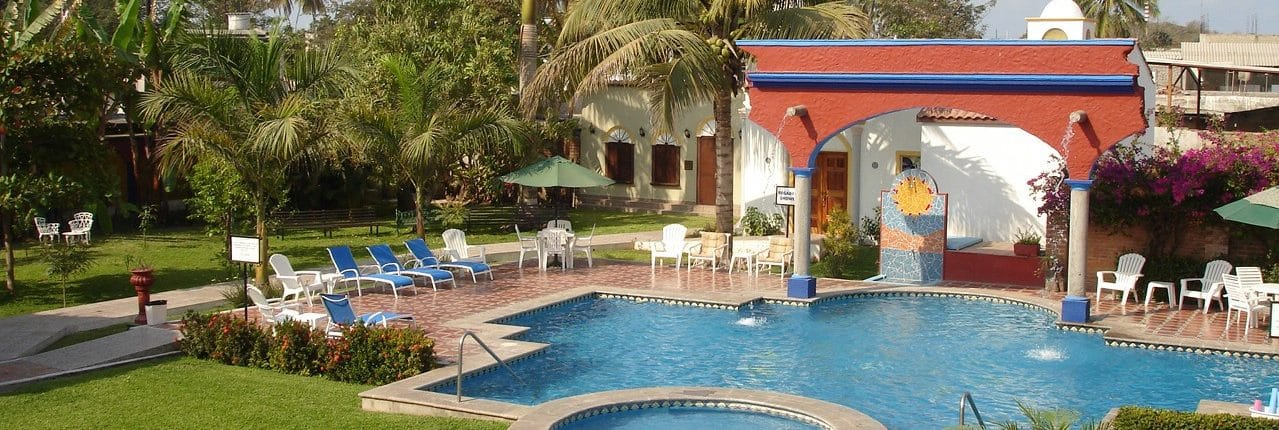 Pool at Hacienda Flamingos hotel in San Blas Riviera Nayarit Mexico