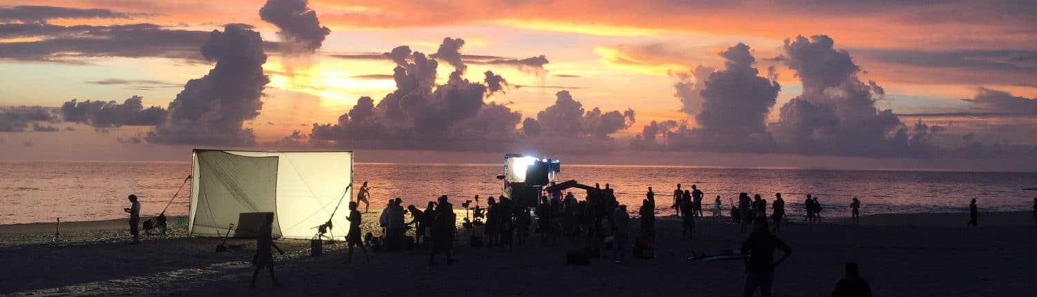 Shooting a film on the beach at sunset in Riviera Nayarit Mexico