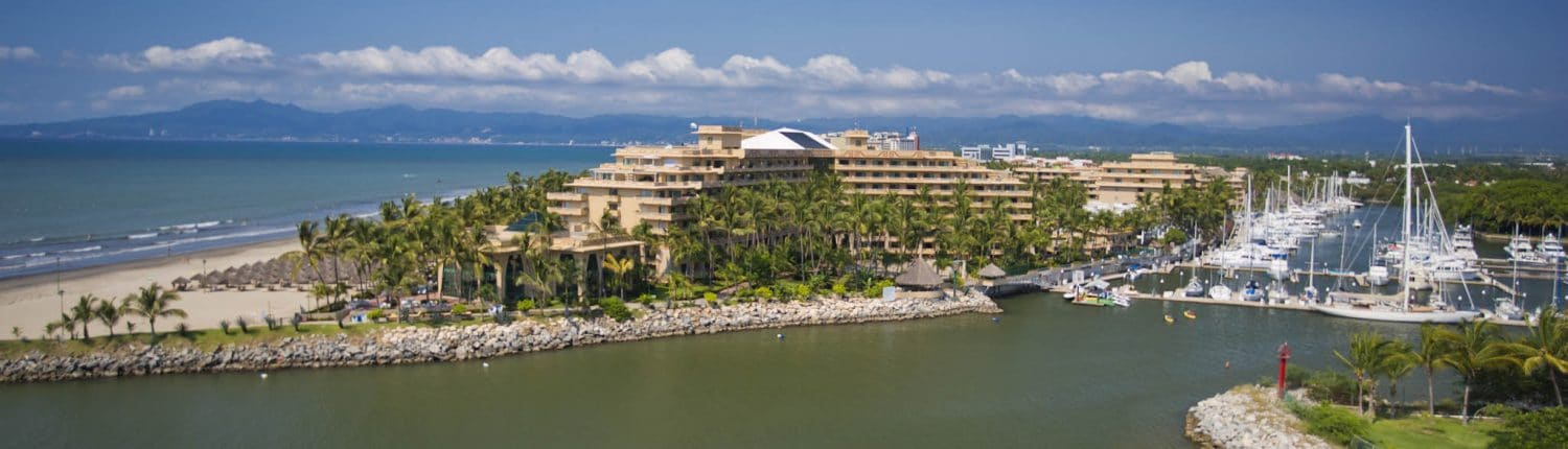 Aerial view of Marina at Paradise Village in Nuevo Vallarta Riviera Nayarit Mexico