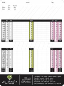 Las Huertas Golf & Beach Club Score Card - Riviera Nayarit Mexico