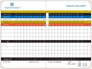 Greg Norman Golf Course - Vidanta Golf Score Card - Riviera Nayarit Mexico