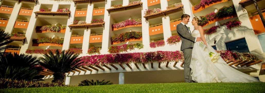 Getting Married in Riviera Nayarit Mexico - newly married couple on Hotel lawn
