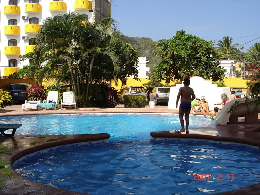 Poolside at Bungalows El Delfin Guayabitos in Riviera Nayarit Mexico