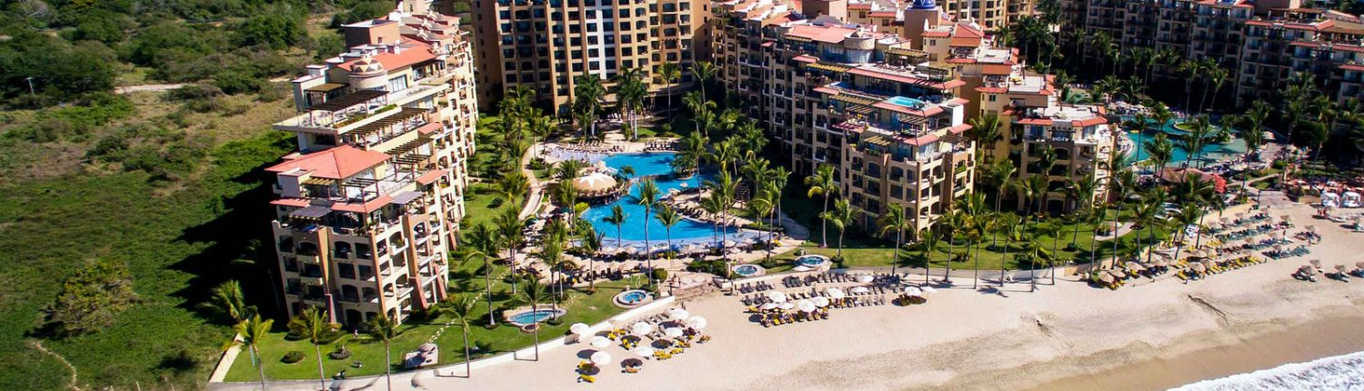 Aerial view of Villa La Estancia hotel and beach in Flamingos Riviera Nayarit Mexico