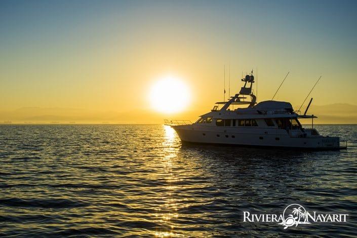 Fishing boat at sunset in Riviera Nayarit Mexico