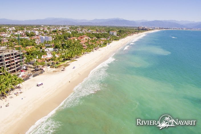 Turquoise waters and beach in Bucerias Riviera Nayarit Mexico