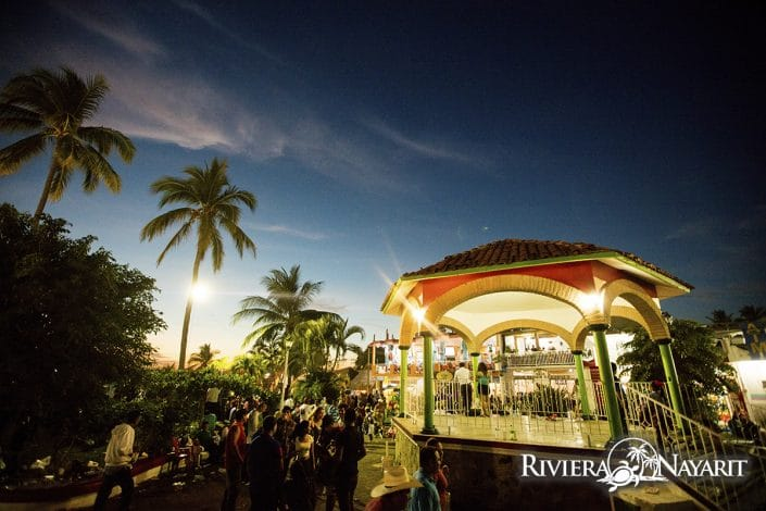 Gazebo wth nightlife in Bucerias Riviera Nayarit Mexico