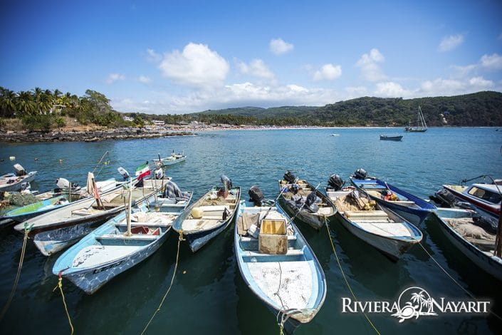 Boats tied up near Chacala in Riviera Nayarit Mexico