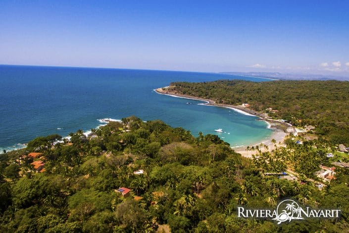 Beach lagoon at Chacala in Riviera Nayarit Mexico