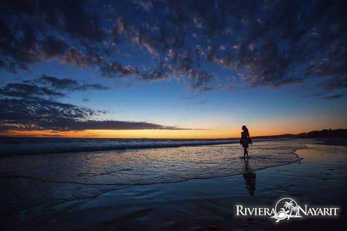 Walking the beach at sunset in Destiladeras Riviera Nayarit Mexico