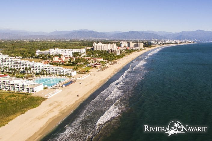 Aerial view of hotels along the beaches of Flamingos Riviera Nayarit MX