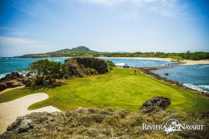 Putting on Tail of the Whale golf green at Punta Mita Golf course in Riviera Nayarit MX