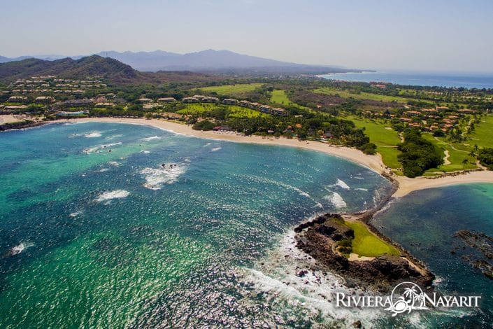 Aerial view of Tail of the Whale golf green at Punta Mita Golf course in Riviera Nayarit MX