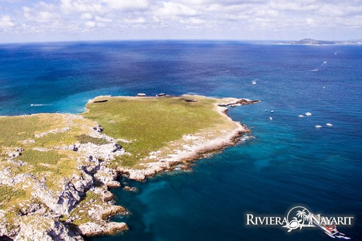 Aerial view of Islas Marietas looking towards Riviera Nayarit mainland in Mexico