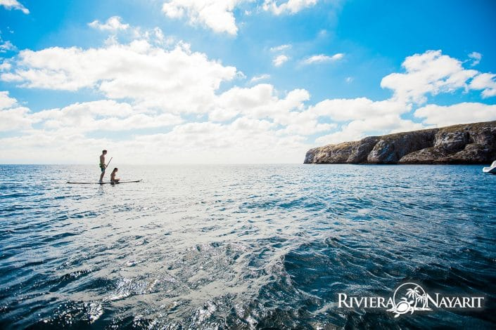 Stand up paddle boarding in Islas Marietas in Riviera Nayarit Mexico