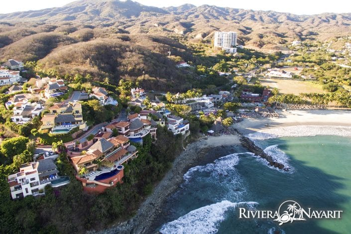 Aerial photo of beach at La Cruz de Huanacaxtle in Riviera Nayarit Mexico