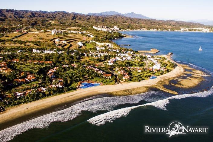 Aerial view of La Cruz de Huanacaxtle in Riviera Nayarit Mexico