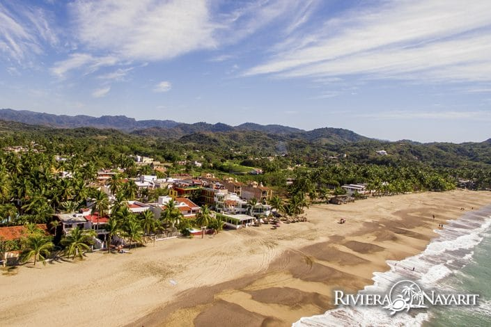 Aerial view of beach and town in Lo de Marcos Riviera Nayarit Mexico
