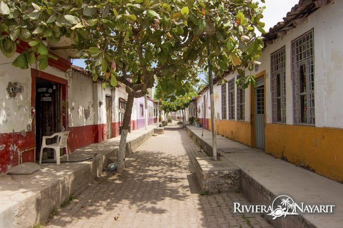 Narrow street on Mexcalitan Island Riviera Nayarit Mexico