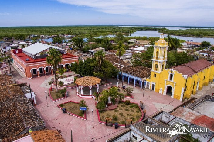 Aerial view of town square on Mexcalitan Island in Riviera Nayarit Mexico