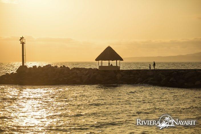 Walking pier at sunset in Nuevo Vallarta Riviera Nayarit Mexico