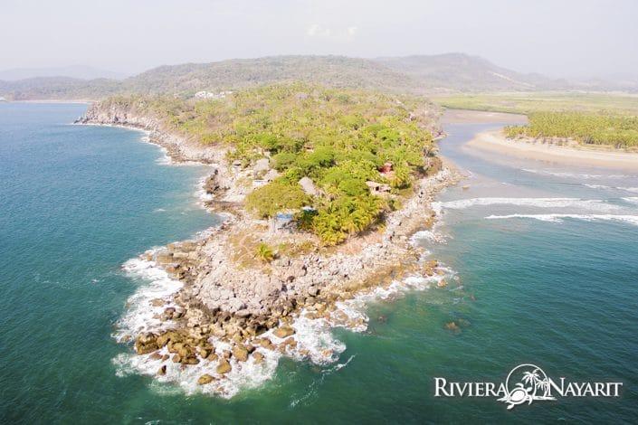 Aerial view of sandy beach lagoon in Punta Custodio Riviera Nayarit Mexico