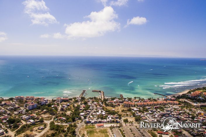 Aerial view of Punta de Mita in Riviera Nayarit Mexico - looking towards the Pacific Ocean