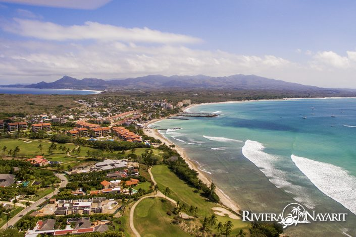 Aerial view of Punta de Mita beach and town in Riviera Nayarit Mexico