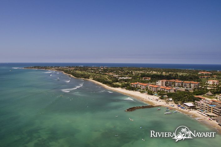 Aerial view of beach in Punta de Mita Riviera Nayarit Mexico