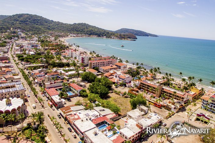 Aerial view of Rincon de Guayabitos Riviera Nayarit Mexico - looking towards the Pacific Ocean