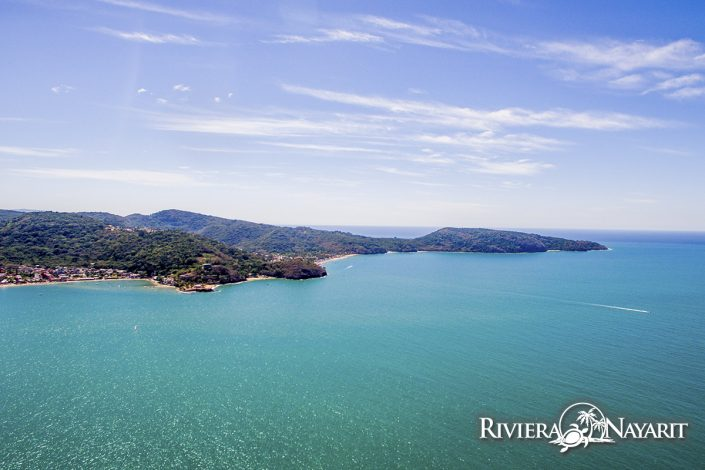 Aerial view of Rincon de Guayabitos Riviera Nayarit Mexico - from over the ocean