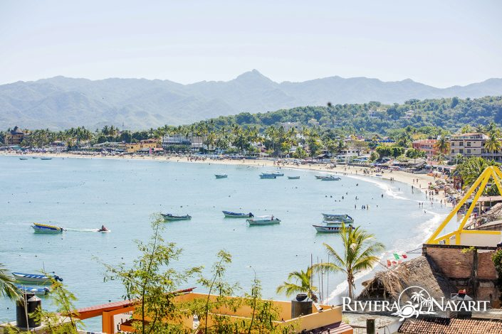 Beach and town of Rincon de Guayabitos in Riviera Nayarit Mexico