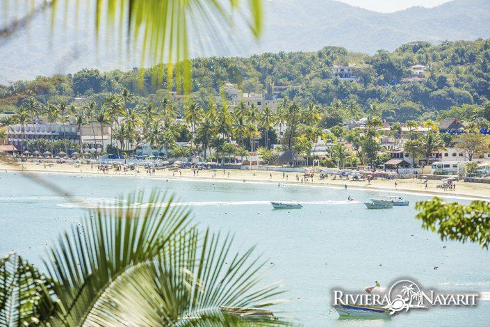 View of beach in Rincon de Guayabitos Riviera Nayarit Mexico