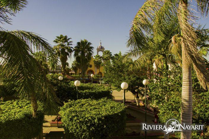 Tree lined hacienda in San Blas Riviera Nayarit Mexico