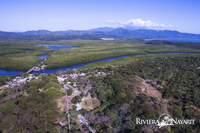 Aerial view of highway and mountains from San Blas Riviera Nayarit Mexico