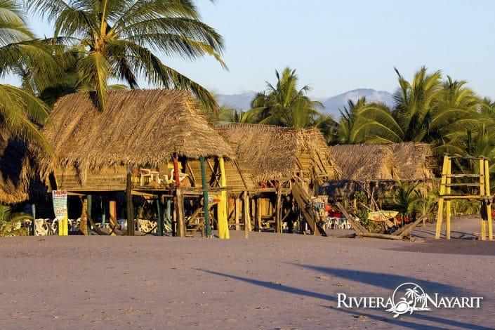 Beachfront Palapa huts in San Blas Riviera Nayarit Mexico