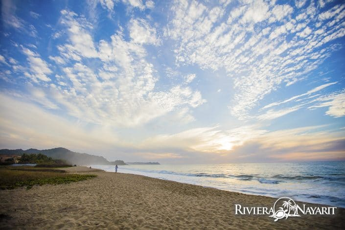 Miles of sandy beach in San Pancho Riviera Nayarit Mexico
