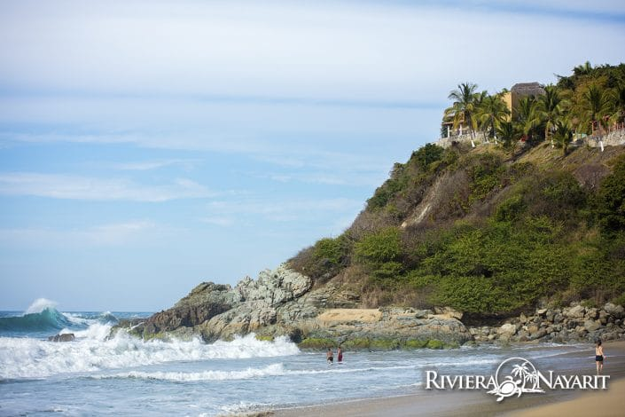 View from the beach in San Pancho Riviera Nayarit Mexico
