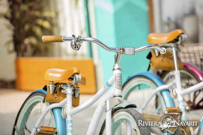 Bicycles parked on the street in San Pancho Riviera Nayarit Mexico